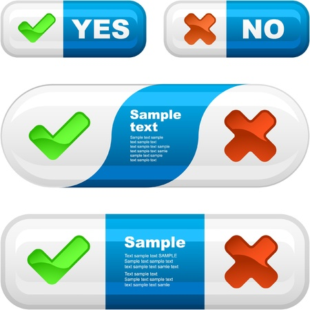 approbate: Approved and rejected button set. Vector illustration.