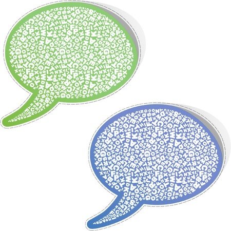 computer language: Speech bubble. Sticker with letter mix.