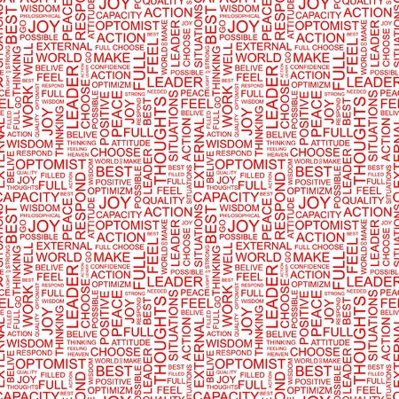 inimitable: OPTIMISM. Seamless vector pattern with word cloud. Illustration with different association terms.