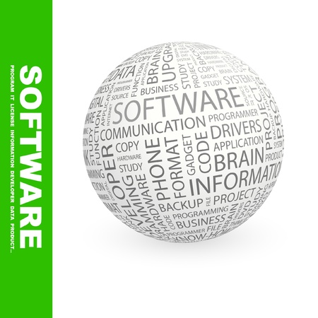 programming: SOFTWARE. Globe with different association terms. Wordcloud vector illustration.