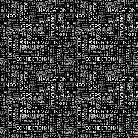 GPS. Seamless vector background. Wordcloud illustration. Illustration with different association terms.  Vector
