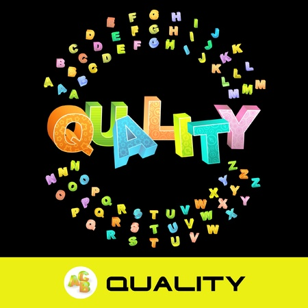 QUALITY. Vector 3d illustration with colored alphabet.   Vector