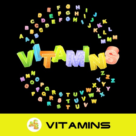 hardiness: VITAMINS. Vector 3d illustration with colored alphabet.