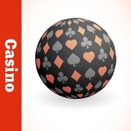 Globe with card suits mix. Vector illustration.   Vector
