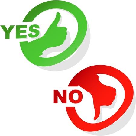 pas d accord: Ic�nes approuv�s et rejet�s. Illustration vectorielle.