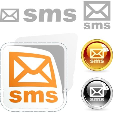 text messaging: Sms buttons. Vector set.