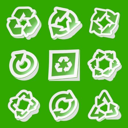 Recycle sticker set. Stock Vector - 8954264