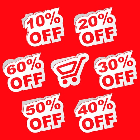 Discount label templates with different percentages   Vector