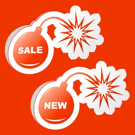 bomb price: Set of design elements for sale.