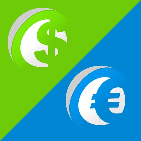 Dollar and euro. Sticker set. Vector