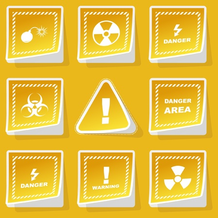 Warning vector sticker set. Vector