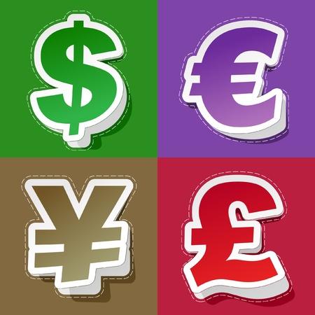 stock trader: D�lar de vector, euro, yen y libra. Etiqueta de conjunto. Vectores