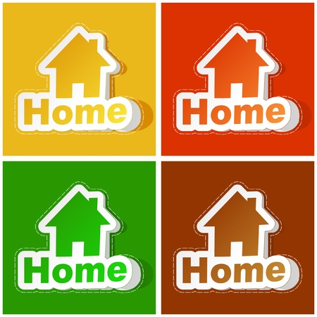 Home sticker set. Vector illustration. Stock Vector - 9022002