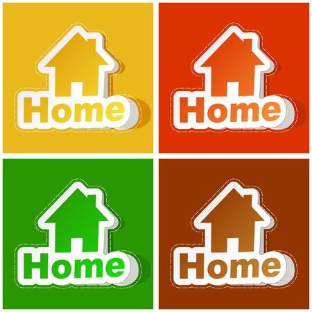 Home sticker set. Vector illustration. Vector
