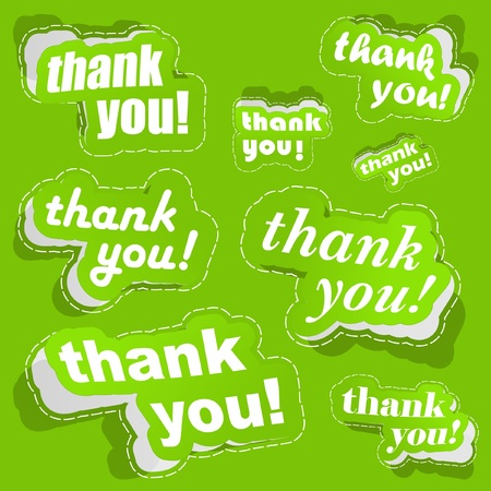 many thanks: Thank you. Sticker collection. Vector illustration.
