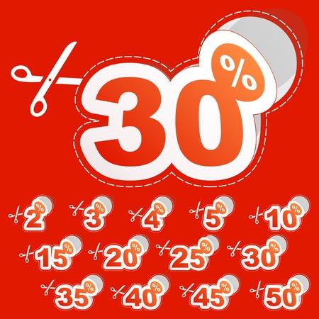 podatek: Rabat szablony naklejki z różnych wartości procentowe