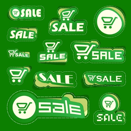 SALE. Shopping cart. Vector sticker set. Vector