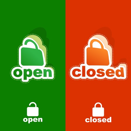 OPEN and CLOSED. Sticker set. Vector