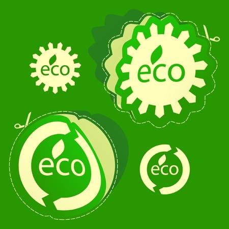 ECO. Sticker set. Vector
