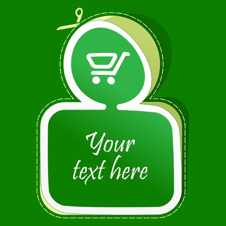money online: Shopping cart. Vector sticker.