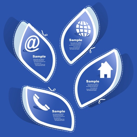 Home, Telefon, Internet und e-Mail. Aufkleber-set für Design.