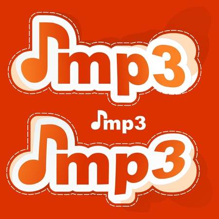 MP3. Sticker set. Vector