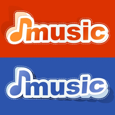 duet: Music. Sticker set. Illustration