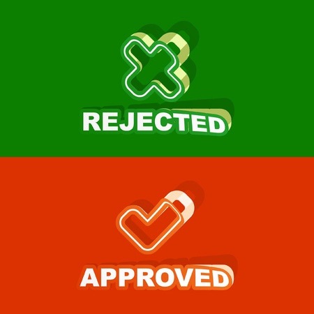 concordance: Approved and rejected sticker set. Vector illustration.