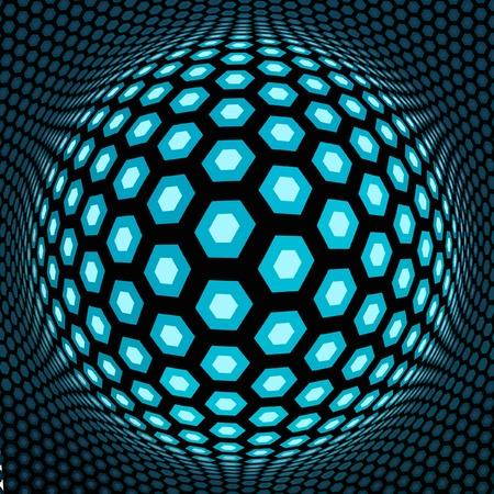 hexagonal: Globe illustration.   Illustration