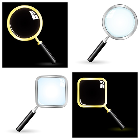 magnification: search icon set. Illustration