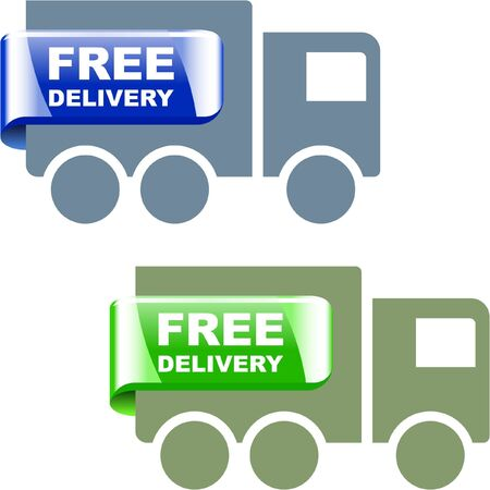 moving truck: Free delivery element set for sale Illustration