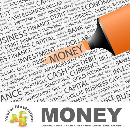 MONEY. Highlighter over background with different association terms. Vector illustration. Vector
