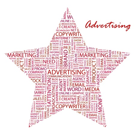 ADVERTISING. Word collage on white background. Vector illustration. Illustration with different association terms.   Vector