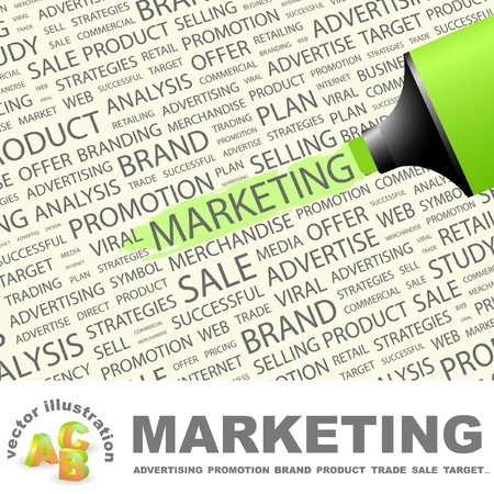 definitions: MARKETING. Highlighter over background with different association terms. Vector illustration. Illustration