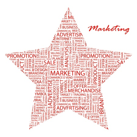 MARKETING. Word collage on white background. Vector illustration. Illustration with different association terms.    Vector