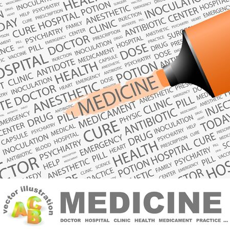 MEDICINE. Highlighter over background with different association terms. Vector illustration. Vector