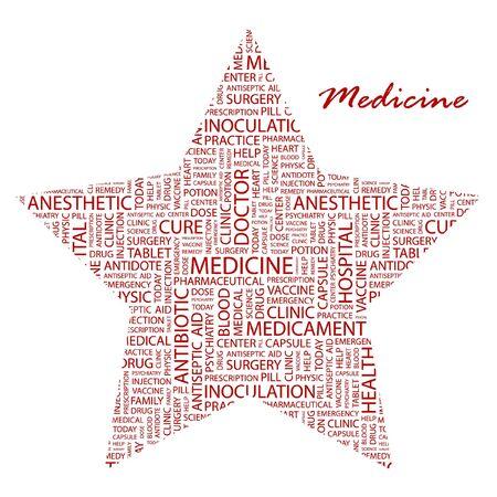 nursing association: MEDICINE. Word collage on white background. Vector illustration. Illustration with different association terms.