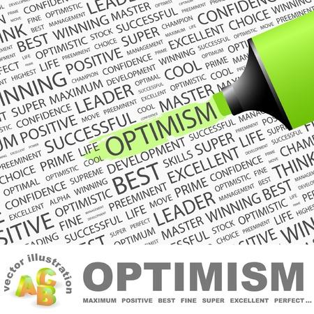 楽観: 楽観的。蛍光ペンの異なる関連用語の背景の上。ベクトル イラスト。