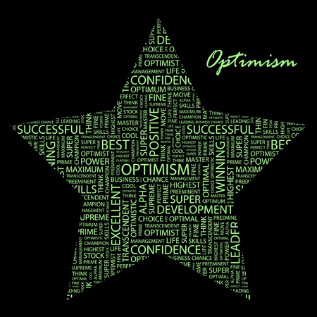 preeminent: OPTIMISM. Word collage background. Illustration with different association terms.