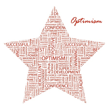 inimitable: OPTIMISM. Word collage on white background. Vector illustration. Illustration with different association terms.