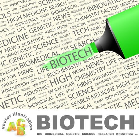 BIOTECH. Highlighter over background with different association terms. Vector illustration. Vector