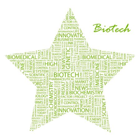 bioscience: BIOTECH. Word collage on white background. Vector illustration. Illustration with different association terms.