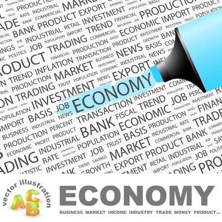 highlighter: ECONOMY. Highlighter over background with different association terms. Vector illustration.