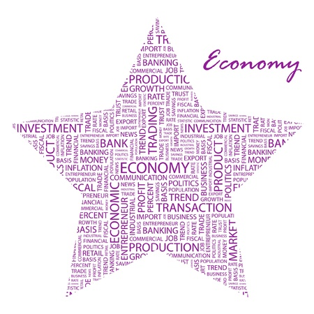 ECONOMY. Word collage on white background. Vector illustration. Illustration with different association terms.    Vector