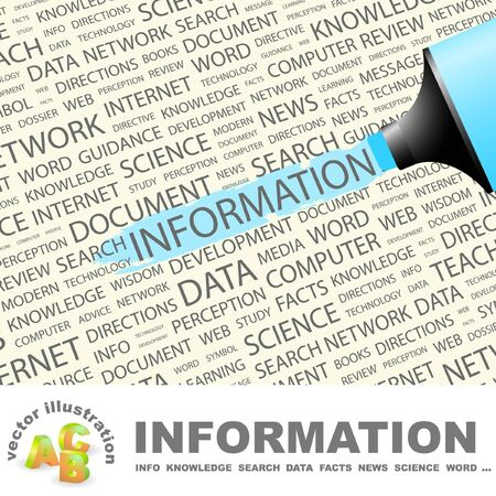 electronic guide: INFORMATION. Highlighter over background with different association terms. Vector illustration.