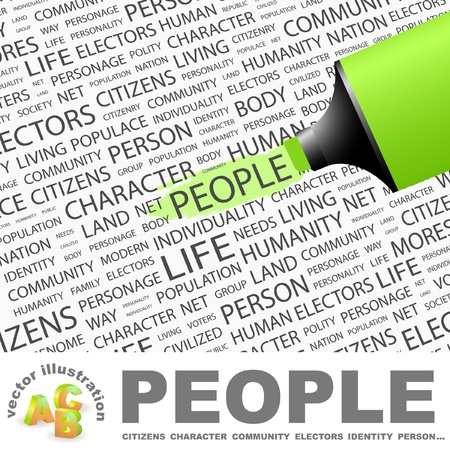 commonality: PEOPLE. Highlighter over background with different association terms. Vector illustration. Illustration