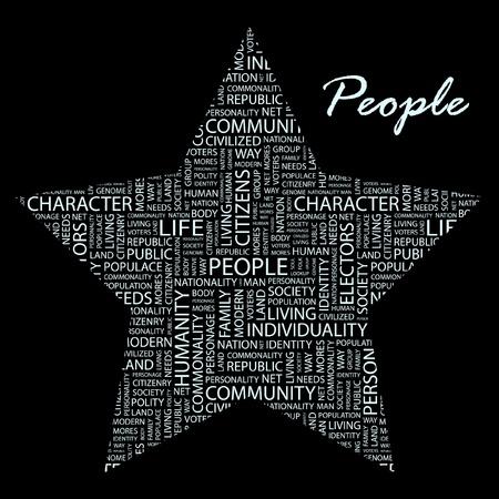 citizenry: GENTE. Collage de palabra. Ilustraci�n con t�rminos de asociaci�n diferente. Vectores