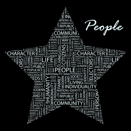 commonality: PEOPLE. Word collage. Illustration with different association terms. Illustration