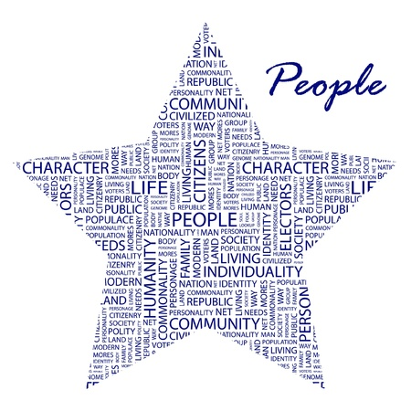 populace: PEOPLE. Word collage on white background. Vector illustration. Illustration with different association terms.