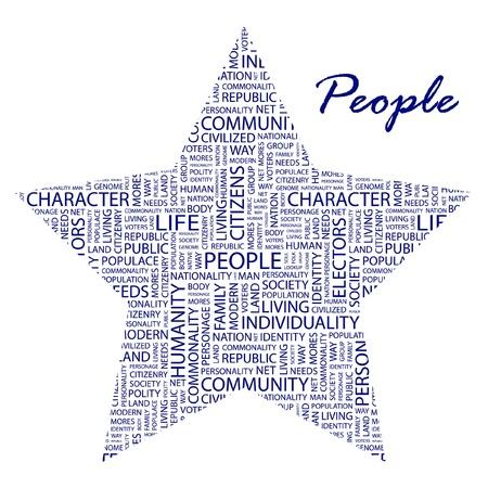 citizenry: PERSONAS. Collage de palabra sobre fondo blanco. Ilustraci�n vectorial. Ilustraci�n con t�rminos de asociaci�n diferente.